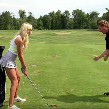 Elise Lobb Learns How to hit Down on a Golf Ball