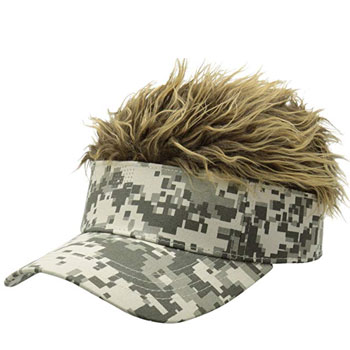 Flair Hair Brown Frosted Hair Visor