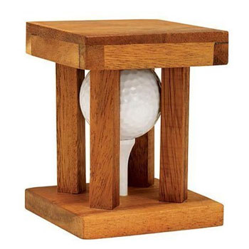 Wooden Brainteaser Golf Ball Puzzle